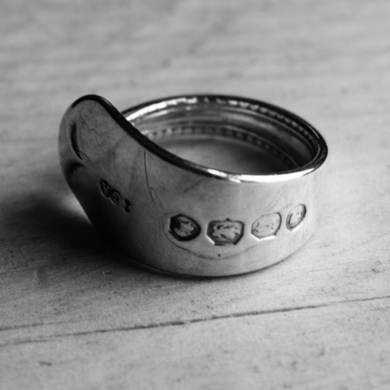 Handmade Cutlery Jewellery - Solid Silver Mustard Spoon Handle Ring  #cutleryjewellery #silverjewellery #bristoluk #ethicaljewellery #handmadejewellery #recycled #solidsilver #bigcartel #vintage #ethics #uniquegifts #cutleryjewellery #handmade #teaspoon #bristoluk #solidsilverjewellery #drumandfifejewellery #nowaste #recycled #givenasecondlife #handmade #ring #necklace #bigcartel #lukh #ethical #win #ethicalfashion #recycleweek #unusualgift #outsidethebox #handmadejewellery #history