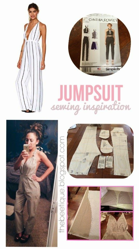 Nasty Gal Inspired Jumpsuit - DIY Sewing Inspiration! Turn any pants or shorts into a romper / playsuit with leftover fabric // mccalls simplicity pattern // open back plunging halter pants shorts romper