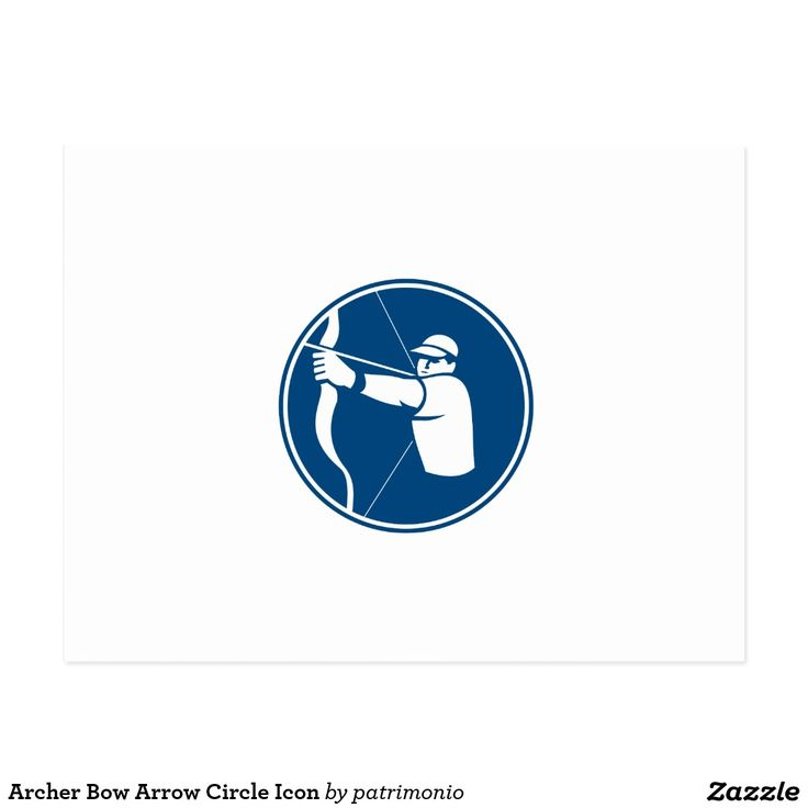 Archer Bow Arrow Circle Icon Postcard. Icon illustration of an archer with bow and arrow aiming set inside circle on isolated background done in retro style. #archery #olympics #sports #summergames #rio2016 #olympics2016