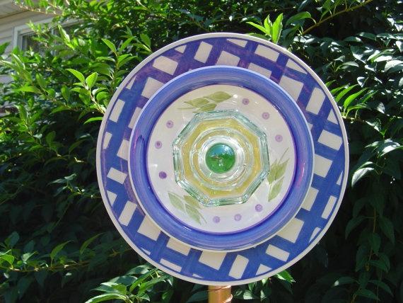 garden decor art plate flower by ReCreationsBySylvia on Etsy, $32.00