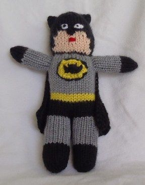 Free knitting pattern for Batman toy and more super hero knitting patterns