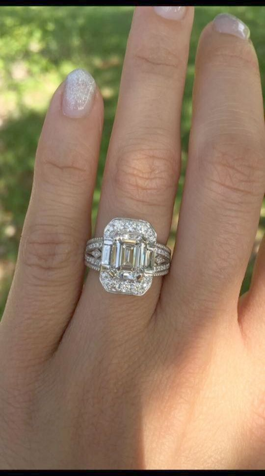 Emerald Cut Diamond Trilogy Ring Antique White Gold Wedding Rings