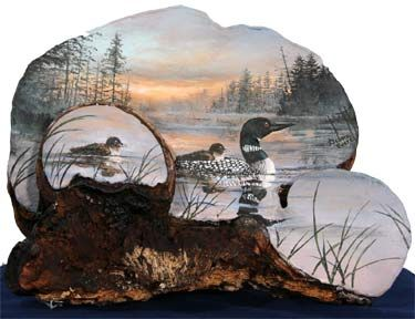 painted Loons on an Artist's conk