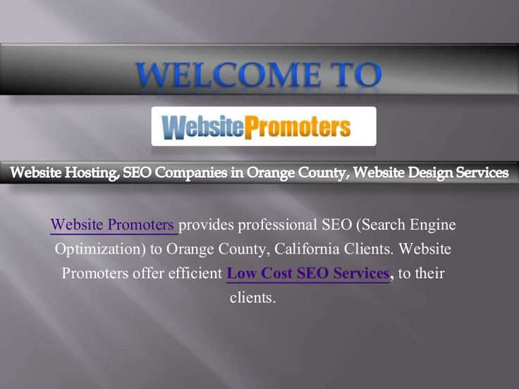 Searching for one of the best SEO companies in Orange County? Then your search will ends at http://websitepromoters.com/.Call Us (855) 325-3774.