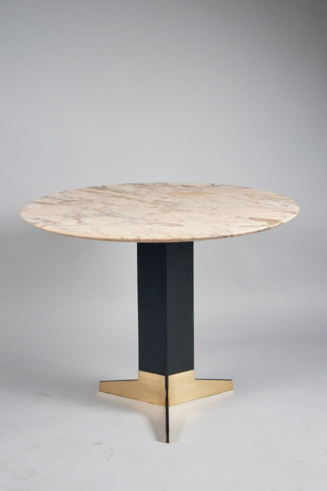 Ignazio Gardella; Brass, Enameled Steel and Marble Center Table, c1950.