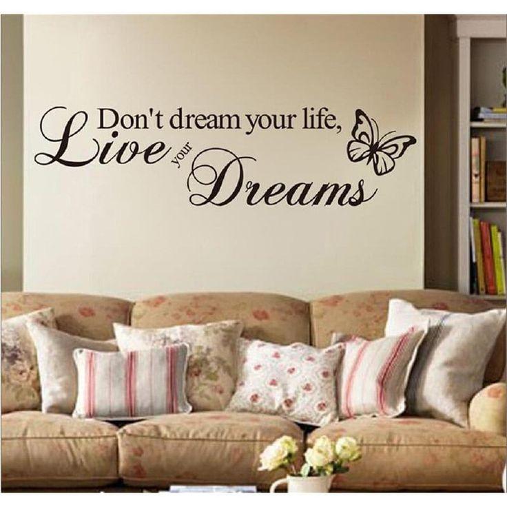 DSU Don'T Dream Your Life Bedroom wall Stickers Dormitory Creative Decorative Wallpaper - BLACK 58X15CM