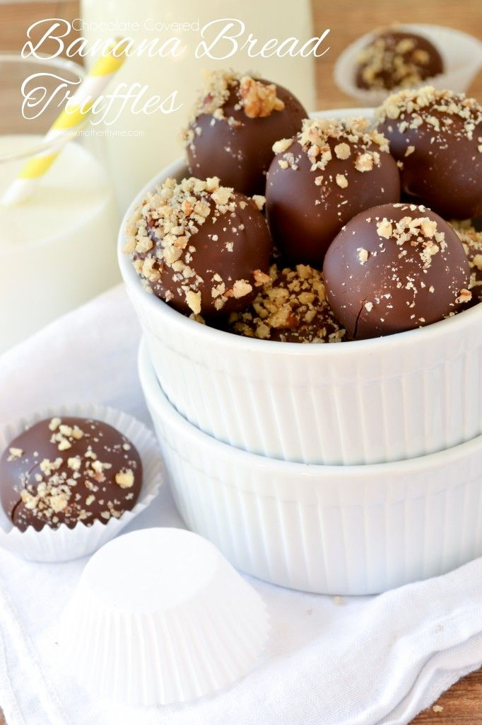 Chocolate Covered Banana Bread Truffles - Mother Thyme