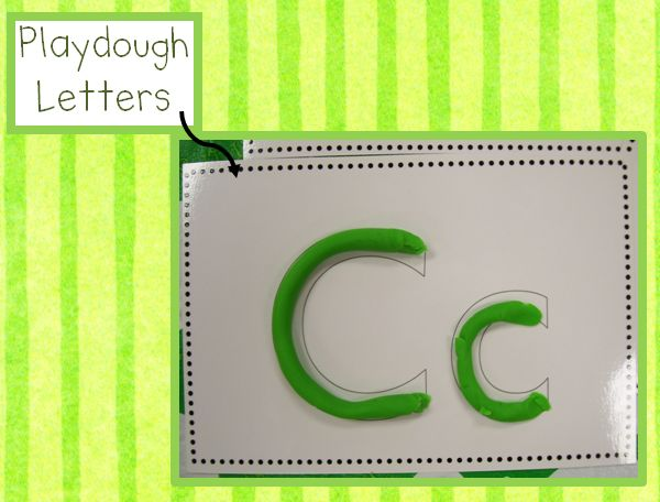 FREE printable for playdough letters. Print on cardstock & laminate. great for a center