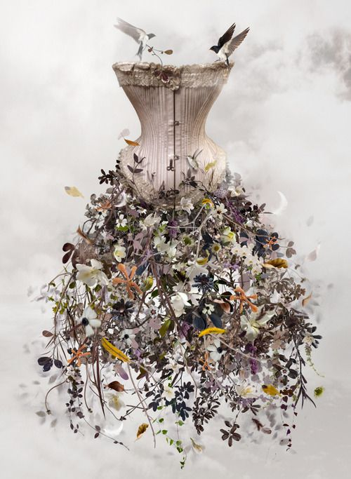 Incredible dress form that showcases floral designs