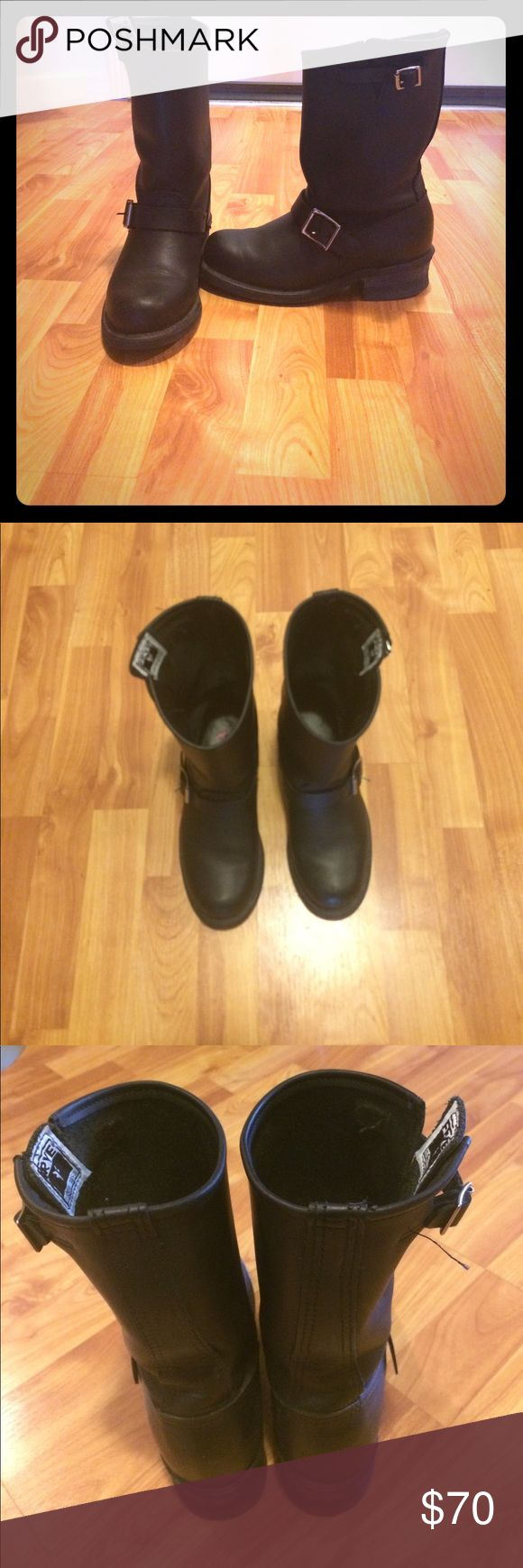 Black 12R Frye Boots! Excellent used condition Frye leather boots. I only wore these a few times, but they are just a bit too snug on my right foot to hold onto. These boots can be worn with jeans, or dressed up with a dress. Very versatile! Frye Shoes Co