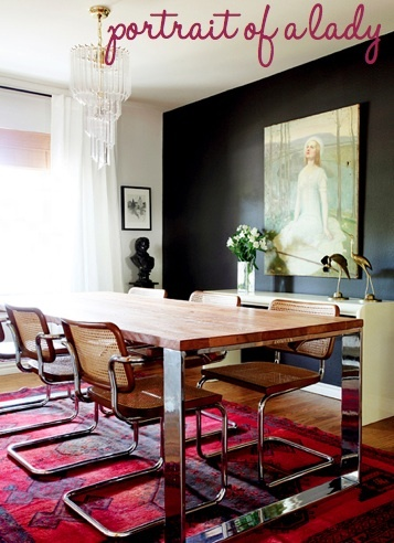 Design Crisis Erin Williamson Dining Room Breuer Caned Chairs Lucite Chandelier Persian Rug Actually Love Drama Focal Wall