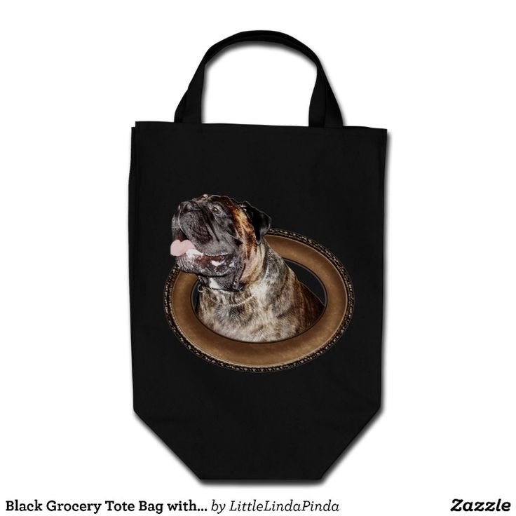 "Black Grocery Tote Bag with Brindle Bullmastiff.  Pet Lovers Gifts for People. Most of the Dog Lovers Gifts are Customizable to Personalize with their NAME, MESSAGE or PHOTO. To view ALL Pet Lovers Gifts CLICK HERE: http://www.zazzle.com/littlelindapinda/gifts?cg=196190382639559148&rf=238147997806552929*/  Type in YOUR TEXT into TEXT BOX(ES) beneath ""Personalize it"" section.   ALL of Little Linda Pinda Designs CLICK HERE: http://www.Zazzle.com/LittleLindaPinda*/"
