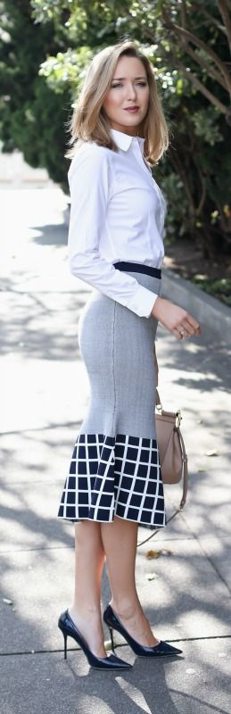 navy graphic trumpet skirt, white non-iron dress shirt, navy patent pointed toe pumps + nude handbag {ty-lr, brooks brothers, jimmy choo, dolce&gabbana}