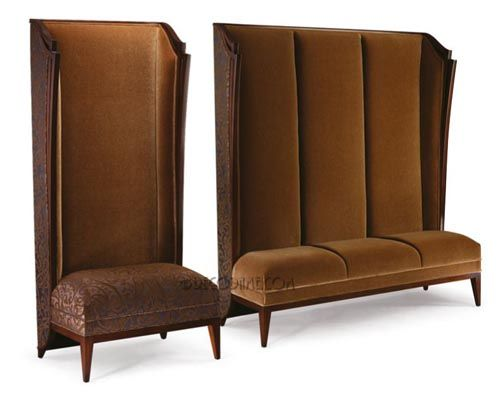 Rendezvous High Back Banquette Bench And Chair Circa 21st C Custom Made