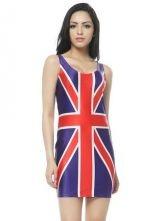 Blue Sleeveless Union Jack Print Bodycon Dress $31.48