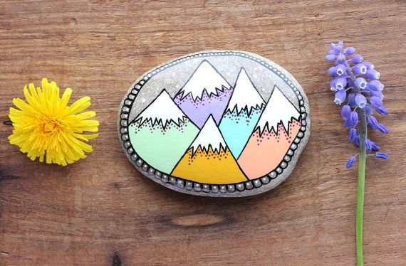 Mountain Painted Rock, Larger Hand-Painted Stone, Painted Mountains, Pastel Mountains, Painted Rock Paperweight