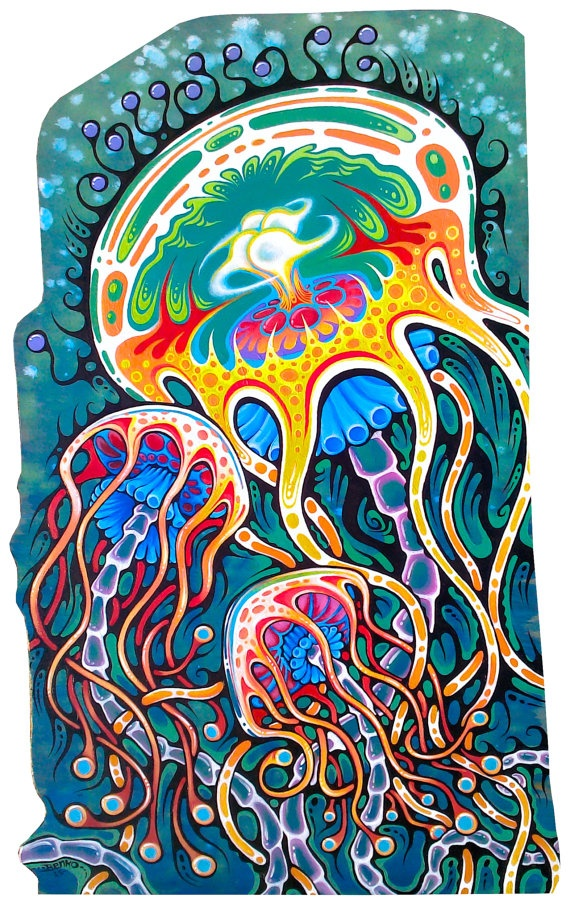 Tangled Tentacles Original Jellyfish Painting 20 X 32. $600.00, via Etsy.