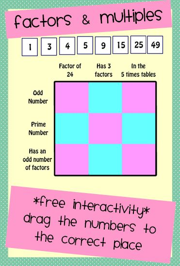 Factors and Multiples: Drag the Numbers to the Correct Place - Free!