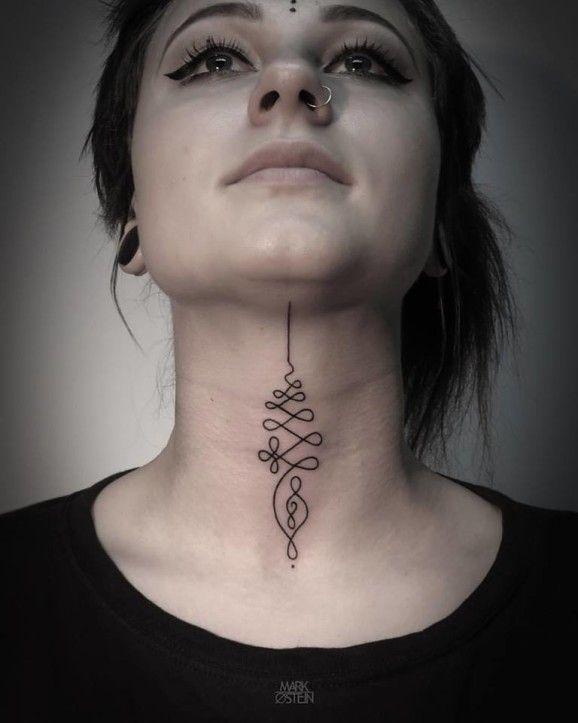 Elegant enlighted unalome throat tattoo by Mark Ostein.