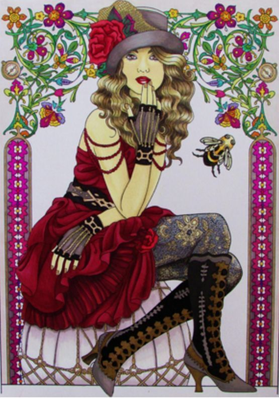 Coloring Book For Adult Steampunk Fashions Designs Anti Stress And Relax Therapy