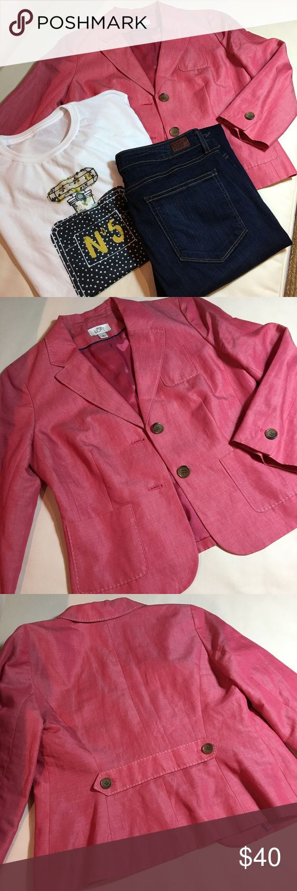 NWOT Anne Taylor LOFT blazer New condition. Salmon pink, lined blazer. 52% ramie. 48% cotton. LOFT Jackets & Coats Blazers