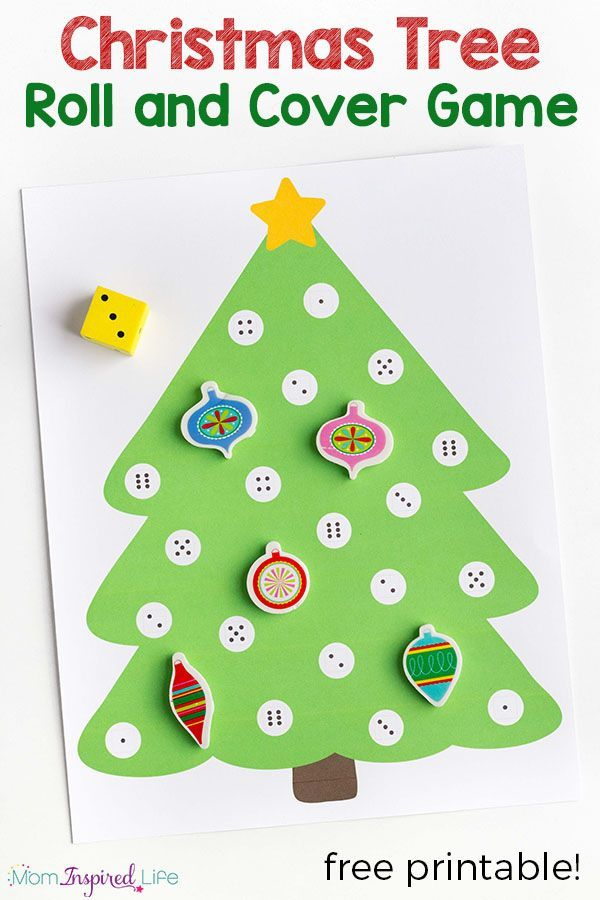 Christmas math activity for preschool. A fun Christmas tree game for young children!