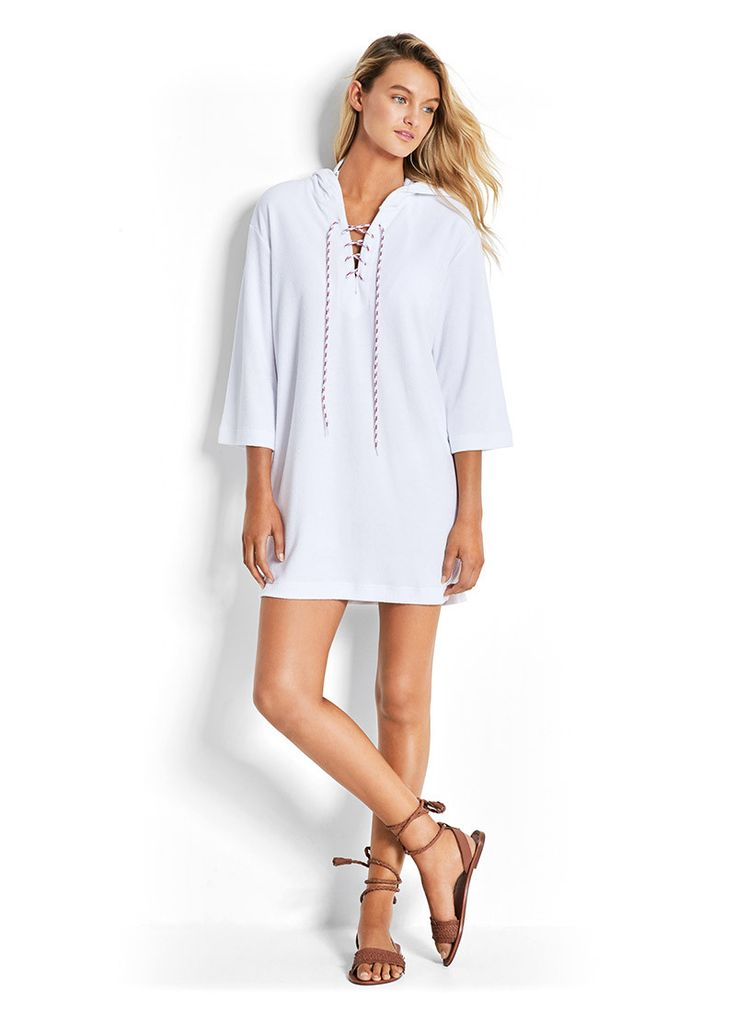 Lace Up Towelling Cover Up