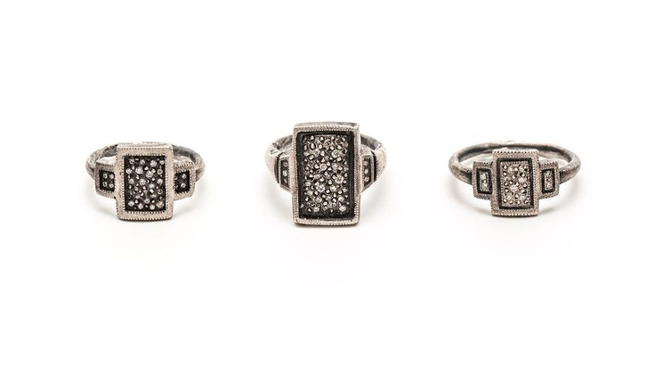 Rings by Suzi Zutic (Oxidised sterling silver, diamonds)