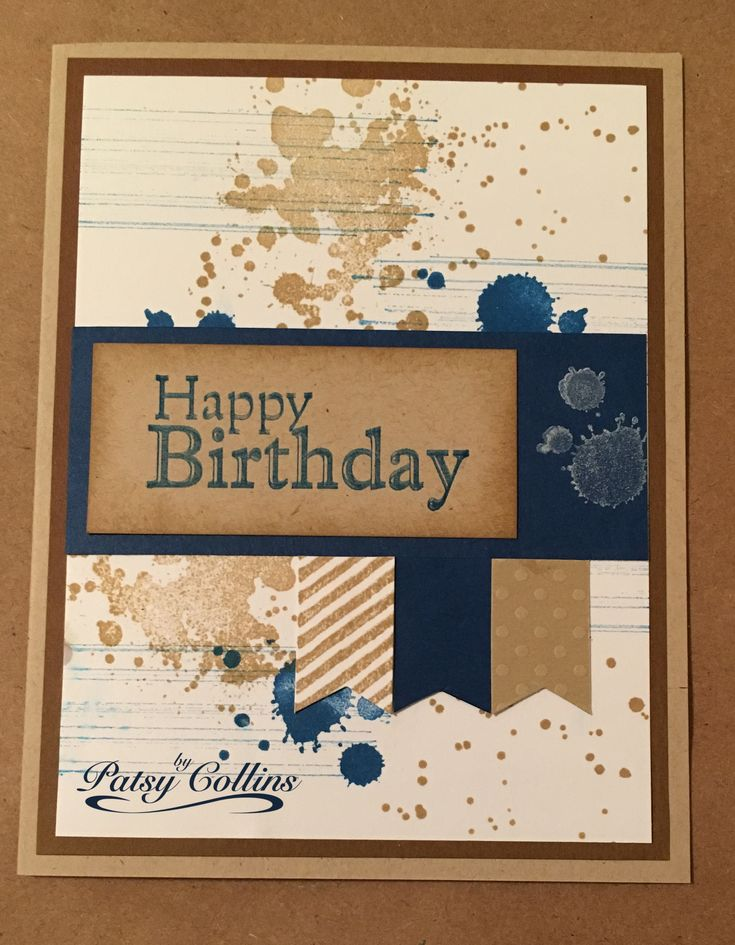 """By Patsy Collins; copy of card by Carol Payne. Measurements for card I made -- Kraft card base. Brown mat 5 1/4"""" x 4."""" White image mat 5"""" x 3 3/4."""" Dark blue strip 3 3/4"""" x 1 1/2."""" Kraft sentiment strip 2 3/4"""" x 1 1/4."""" Flags 5/8"""" x 1."""" (Your sentiment strip may be longer or shorter depending on the sentiment you choose.)"""