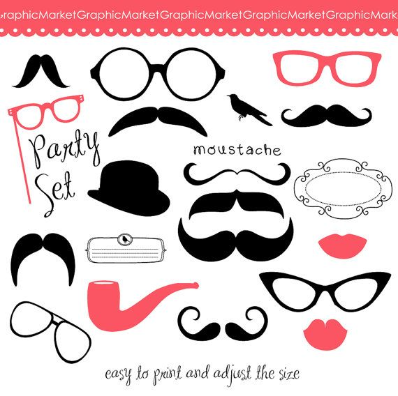 Mustache, Spectacles and Lips Kiss Digital Clipart Set. DIY Photo Booth Printables. Best Wedding Party Props