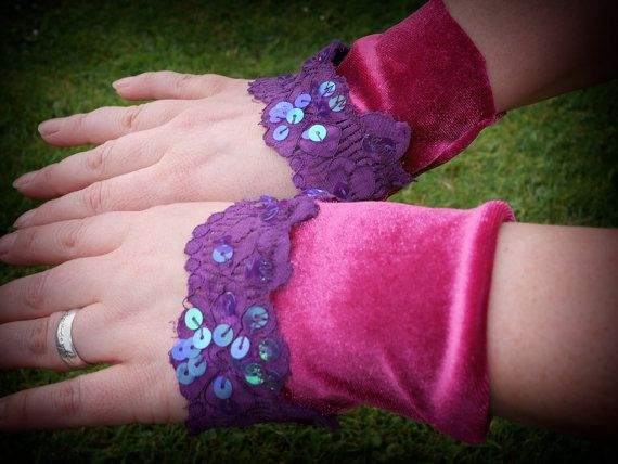 Pink wristlets wrist cuffs fabric velvet & lace by OshunCreations