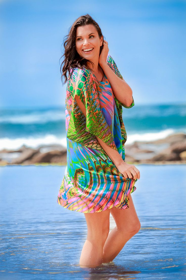 Eco Diva Barrier Reef Short Kaftan $199 #beach #sustainablefashion