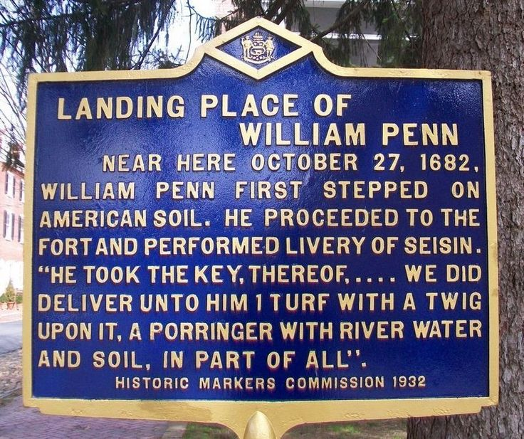 Landing Place of William Penn Marker. Click for full size.