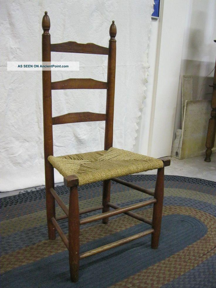 Primitive 1800s New England 3 Slat Ladder Back Chair High