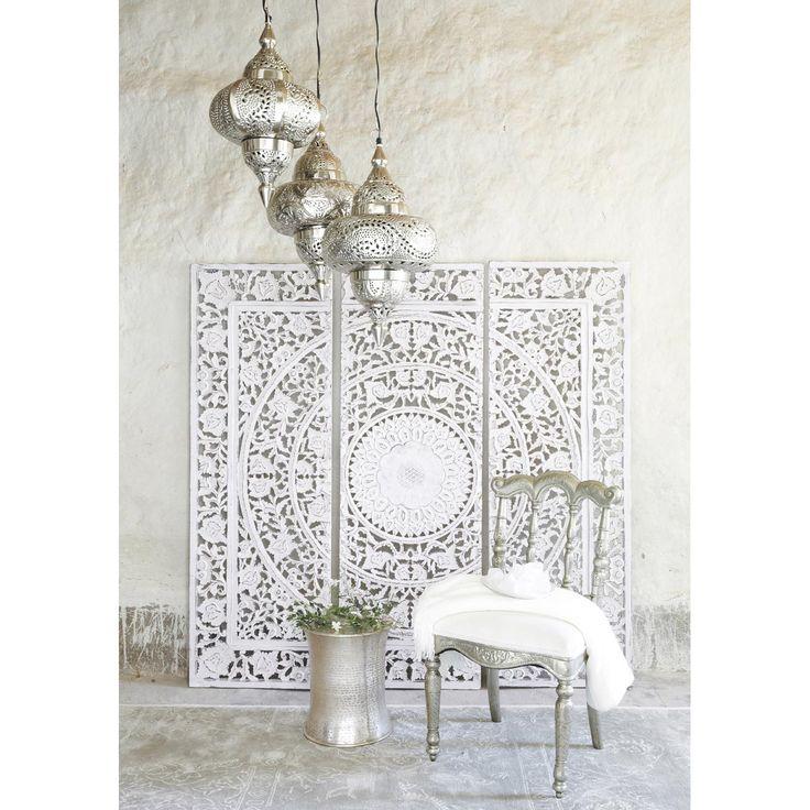 Wit houten drieluik-schilderij 150 x 150 cm | Maisons du Monde