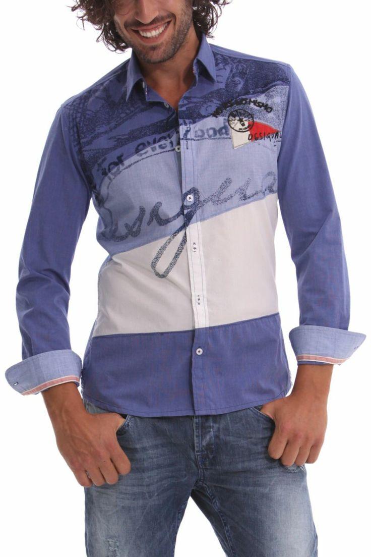 "Desigual Men's Shirt ""Cucumis"" Navy 41C1258 | Fun Fashion | Canada |"