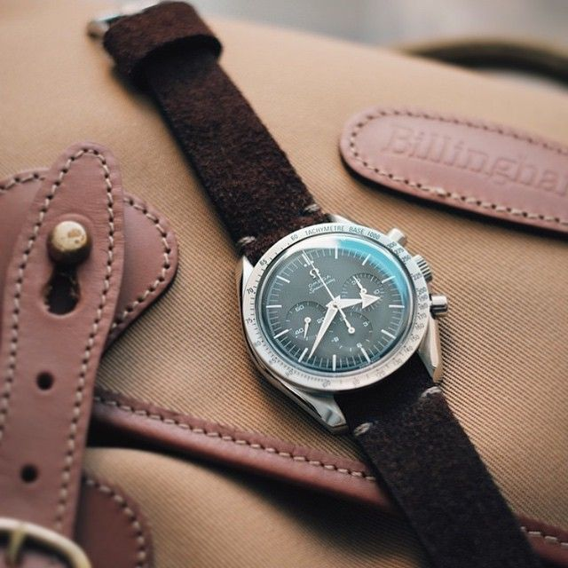 Omega Speedster Broad Arrow reissue paired with a handmade brown suede Bas and Lokes watch strap. Available at www.basandlokes.com