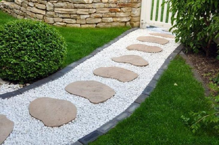 Gravel Garden Path with Stepping Stones