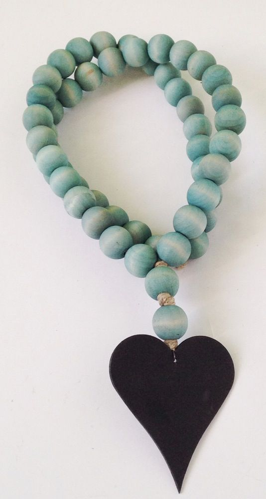 Image of Love Beads for your home...Original Style in Aqua with Heart-1