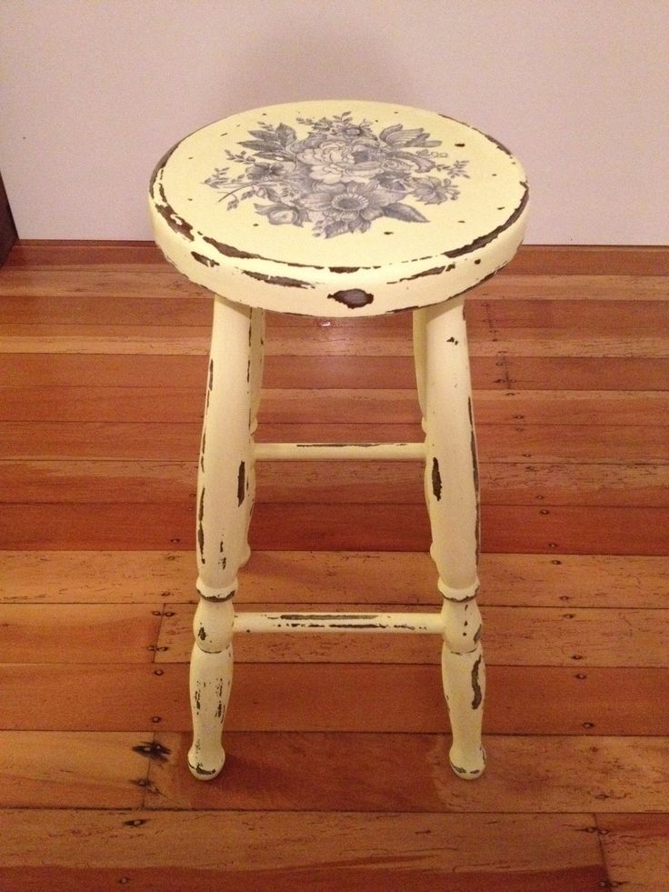 Yellow patterned distressed stool