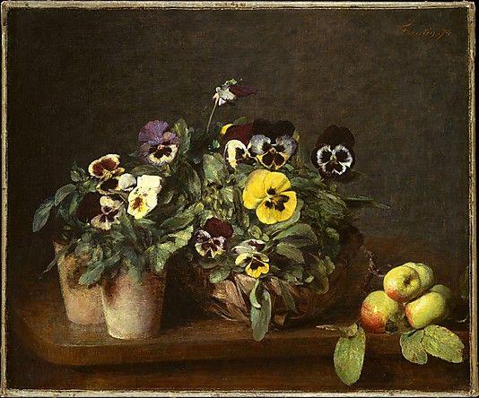 Still Life with Pansies, Henri Fantin-Latour  (Grenoble 1836–1904 Buré), 1874, Oil on canvas. The Metropolitan Museum of Art, NY.
