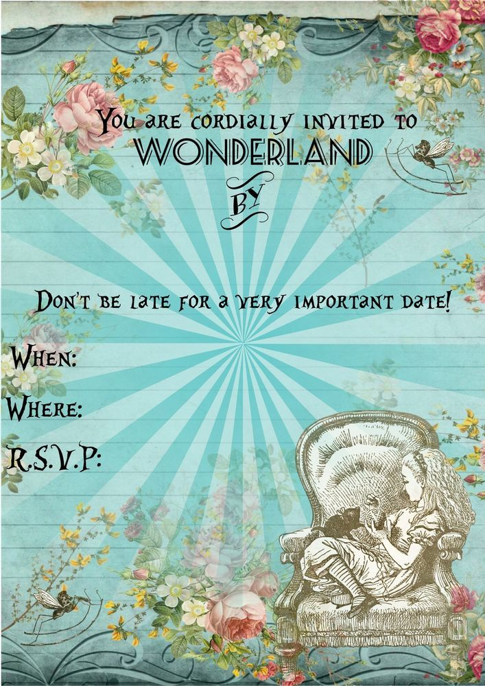 8 Alice in Wonderland Invitations for Party,- Brought :) I thought I would put all the bridesmaids names under the 'You're invited by' - what do you think?