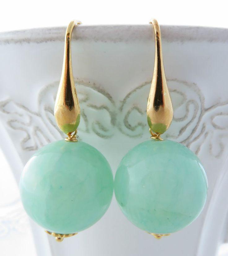 Orecchini giada verde acqua e argento 925 dorato, gioielli con pietre dure