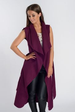 Marina Plum Sleeveless Belted Jacket