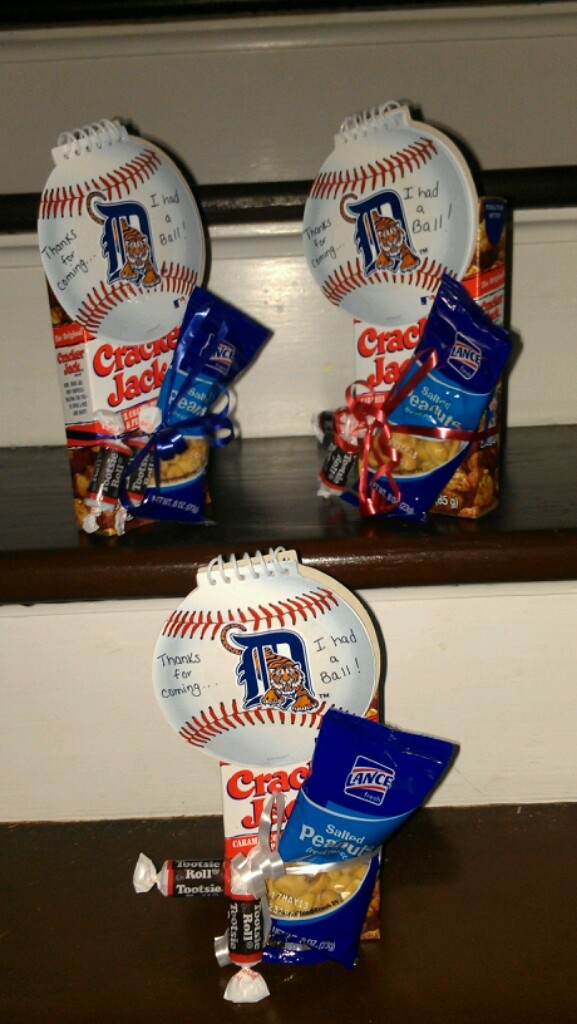"""Baseball party favors. Detroit Tigers. """"Thanks for coming... I had a ball!"""""""