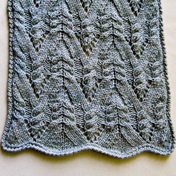 Knit Scarf Pattern:  Cable Lace Mountain Turtleneck Scarf. ~i'd love to convert to a cowl!~