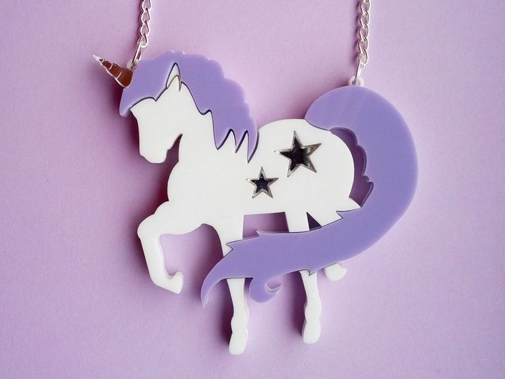 Lilac unicorn necklace