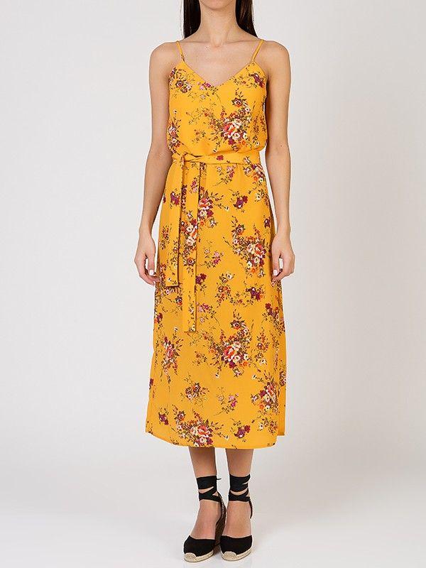 Φόρεμα με Τιράντες σε Flower Print- Κίτρινο
