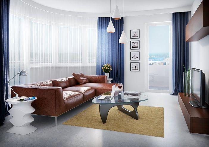 Kapitańska 35 Gdynia Przykładowa aranżacja mieszkania - pokój dzienny z charakterystycznym dla gdyńskiego modernizmu okrągłym układem okien BMC Budujemy Twoje marzenia