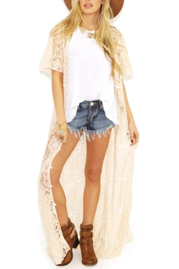 This darling cotton blend Kimono beach cover up in Ivory with paisley design is perfect for your summer wardrobe. Accent with either your favorite high - waisted worn out denim shorts, a vintage crop top, layered rustic necklace pieces and cowgirl boots in cognac.   Short Sleeve Duster by Elan International. Clothing - Sweaters - Cardigans Clothing - Jackets, Coats & Blazers - Kimonos & Wraps Idaho